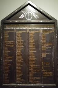 Listed on this panel are the names of all the Dutch directors who resided at the Netherlands' trading post in Japan between 1610 and 1850, initially in Hirado, and from 1641 on Deshima. They controlled the Dutch-Japanese trade. The list also includes the number of ships that arrived and those that were lost at sea.