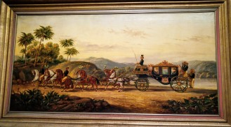 Haaxman made this painting as a kind of advertisement for The Hague firm of carriage makers Hermans en Co. The coach depicted was ordered by the Javanese sultan Mangkoe Nagoro IV. The Roman numeral IV, a reference to the Javanese ruler, can be seen in the Dutch coat of arms on the door of the carriage. Around 1900, the authority of the local rulers was sometimes closely intertwined with that of the colonial regime.