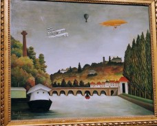 View of the Pont Sèvres and the Hills of Clamart, Saint-Cloud, and Bellevue with Biplane, Balloon, and Dirigible, by Henri Rousseau